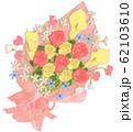 バラとカラーリリー、スイートピー、ブルースターの花束 62103610