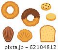 ドーナツと焼き菓子の手描き風イラストセット 62104812