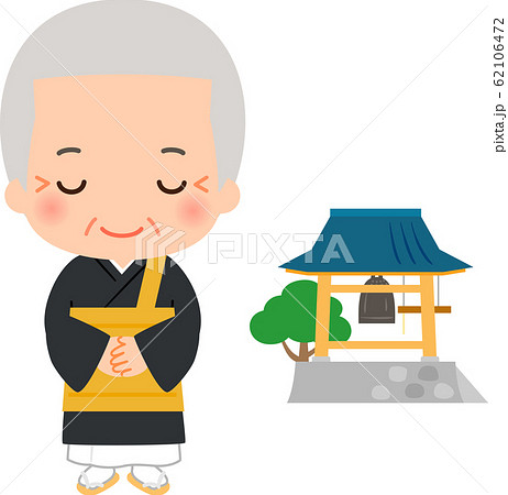 日本のお坊さんとお寺の鐘 62106472