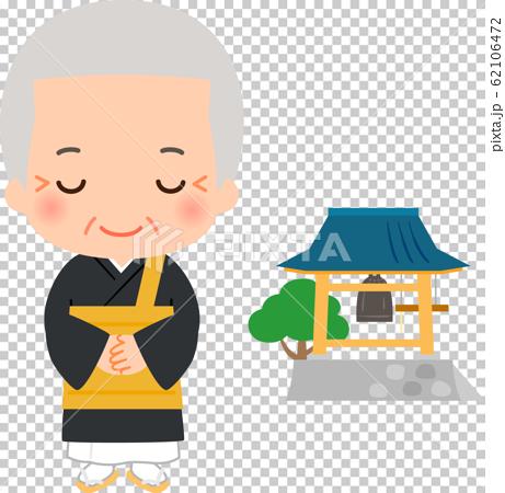 日本和尚和寺院的鐘聲 62106472