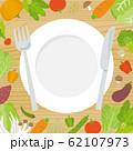 野菜とお皿のフレーム(木のバックグラウンド) 62107973