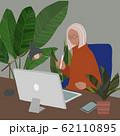 オフィス パソコン 観葉植物 アトリエ 人物あり A 62110895