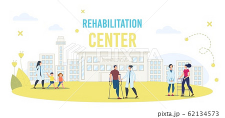 Disabled People Rehabilitation in Hospital Vector 62134573