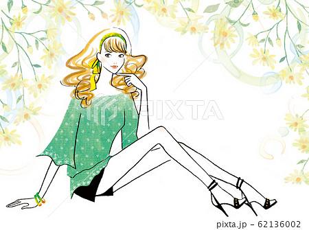 花の背景で座ってポーズをとる女性 62136002