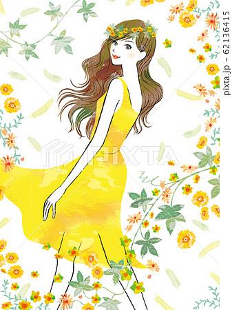 黄色の春の妖精のような女性 62136415