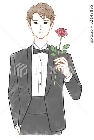 バラの花を持った男性 62142895