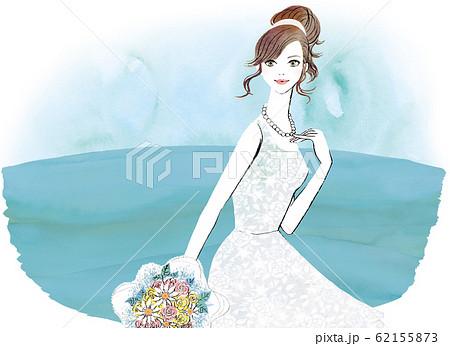 レースのウェディングドレスを着た女性 62155873