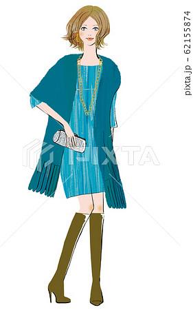 パーティに向かうブーツを履いた女性 62155874