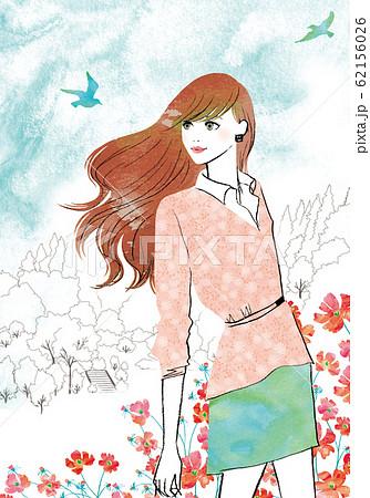 春の風を感じる女性 62156026