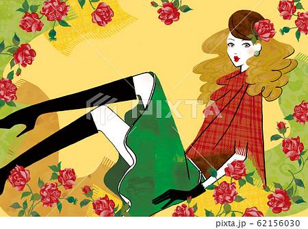 薔薇とベレー帽をかぶった女性 62156030