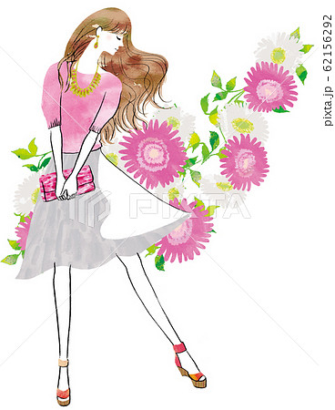 ピンクの花の背景の横向きの女性 62156292