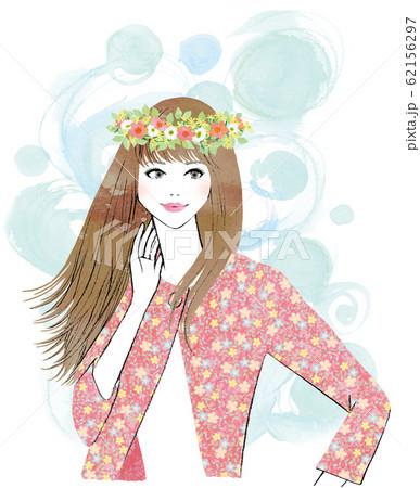花冠をかぶった女性 62156297