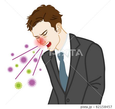 咳をするビジネスマン ウイルス拡散 62158457