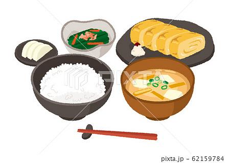 和風な朝食のイラスト 玉子焼き 62159784