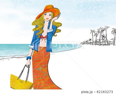 海の風に吹かれる女性 62163273
