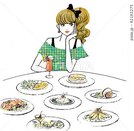 たくさんの料理と飲み物と女性 62163275