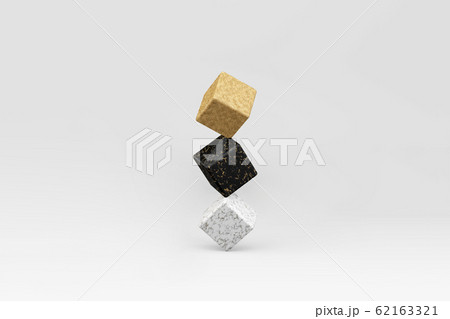 3d render of balancing cubes gold, black marble and white. Surrrealism in minimal style 62163321