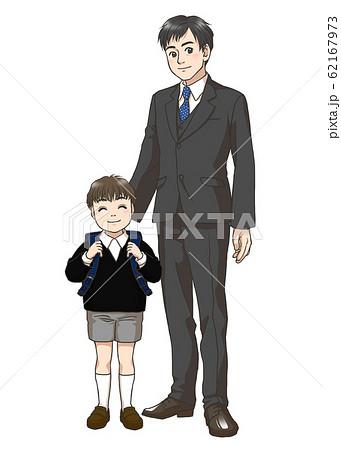 新小学一年生男子と父親 62167973