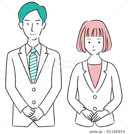 手描き1color  スーツの男女 おでむかえ ピンクとエメラルドグリーン 62180854