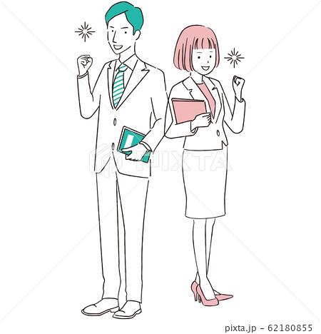 手描き1color  スーツの男女 ガッツポーズ全身 ピンクとエメラルドグリーン 62180855