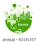エコ・エコロジー・自然・環境保護に配慮した都市生活イメージ 円形バナーイラスト (緑) 62191557