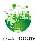 エコ・エコロジー・自然・環境保護に配慮した都市生活イメージ 円形バナーイラスト (グラデーション) 62191559