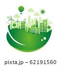エコ・エコロジー・自然・環境保護に配慮した都市生活イメージ 円形バナーイラスト (グラデーション) 62191560
