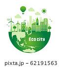 エコ・エコロジー・自然・環境保護に配慮した都市生活イメージ 円形バナーイラスト (グラデーション) 62191563