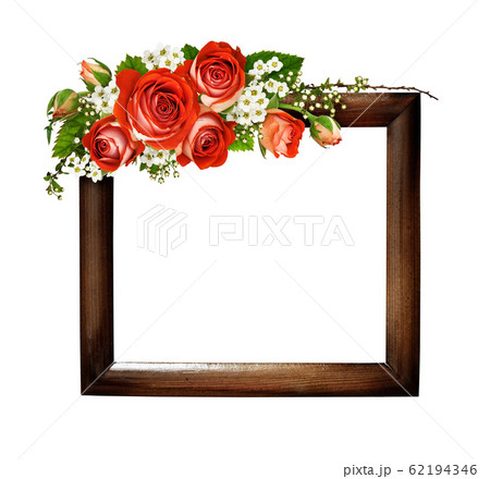Orange roses and spiraea flowers in a floral 62194346