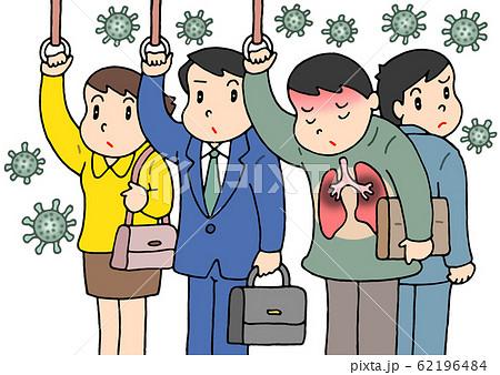 通勤電車内・濃厚接触による感染 62196484