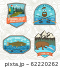 Set of fishing patch. Vector. Concept for shirt or logo, print, stamp, tee, patch. Vintage typography design with fisher, river, rainbow trout, bear and mountain silhouette. 62220262