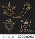 Gold esoteric symbols. Vector. Thin line geometric badge. Outline icon for alchemy or sacred geometry. Mystic and magic design with philosopher stone, hand, skull and law scale. 62220268