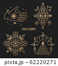 Gold esoteric symbols. Vector. Thin line geometric badge. Outline icon for alchemy or sacred geometry. Mystic, magic design with all-seeing eye, hand, star, gate to another world, moon 62220271