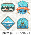Set of fishing club patch. Live, love, fish. Vector. Concept for shirt or logo, print, stamp, tee, patch. Vintage typography design with fish rod, rainbow trout and hook silhouette. 62220273