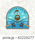 Hipster fishing club patch. Vector. Concept for shirt or logo, print, stamp, tee, patch. Vintage typography design with fish rod silhouette. 62220277