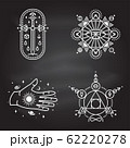 Esoteric symbols. Vector. Thin line geometric badge. Outline icon for alchemy or sacred geometry. Mystic and magic design with philosopher stone, old sword, hand, stars, planets and moon. 62220278