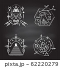 Esoteric symbols. Vector. Thin line geometric badge. Outline icon for alchemy, sacred geometry. Mystic and magic design with skull, crystals, sun, ufo flying, stars, gate to another world and moon. 62220279