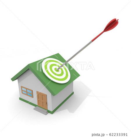 住宅に矢を当てる。良い物件を見つける。3Dイラスト 62233391