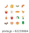FAST FOOD AND SNACK ICON SET 62239884
