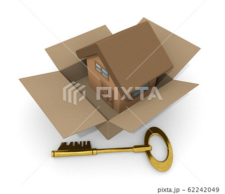 段ボールに入った家。新築住宅を購入する。ゴールドの鍵。3Dイラスト 62242049