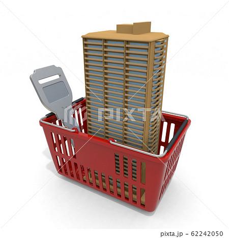 マンションを購入する。買い物カゴに入っている高層マンション。3Dイラスト 62242050