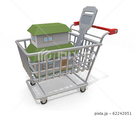 新築家を購入する。ショッピングカートに入っている家と鍵。3Dイラスト 62242051