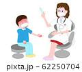 発熱している子供の患者を治療している医師。 62250704