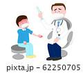発熱している子供の患者を治療している医師。 62250705