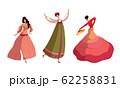Women Wearing Dresses Performing Different Dances Vector Set 62258831