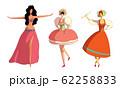 Women Wearing Dresses Performing Different Dances Vector Set 62258833