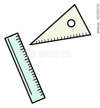 かわいい イラスト 小学校 アイコン 三角定規 定規 62262733