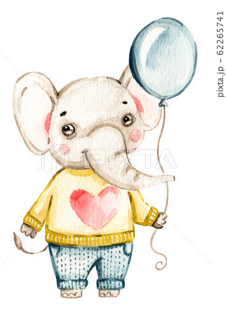 Watercolor nursery Cute elephant with balloon hand painted watercolour childish illustration. Baby boy elephant. 62265741