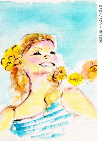 オレンジの花と女の子 62277020