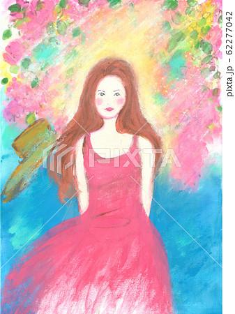 南の島と赤いワンピースを着た女の子 Seaside girl 62277042